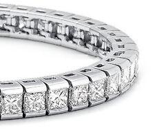 "NEW 8"" Solid Sterling Silver 4mm/14ct Sparkling Princess Tennis Bracelet 17.26g"
