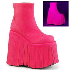 "DEMONIA Gogo Dancer Raver 7"" Platform Neon Pink UV Reactive Ankle High Boots"