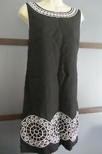 JESSICA HOWARD Dress Black White Linen Blend Embroidered Hem Womens 14 14P 16P