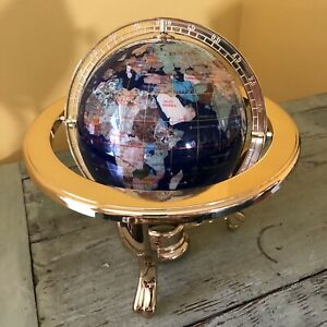 Stone Inlay World Globe Lapis Blue Gold-Tone Stand w/ Compass Tabletop Office