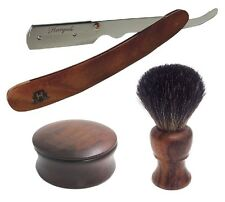 Wood Handle Razor Shaving Mug and Badger Brush Soap Bowl with Lid Cover