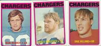 Lot of 3 different 1972 Topps San Diego Chargers football Cards