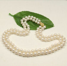 2 rows 8-9 mm  white south sea pearl necklace 18 inch 14K Gold Clasp