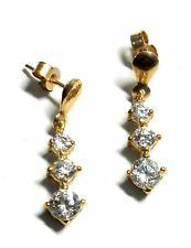 .375 9ct YELLOW GOLD Graduated CUBIC ZIRCONIA Stud Earrings, 1.34g JW - A08