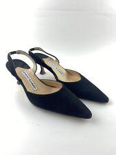 Manolo Blahnik Womens Slingbacks Carolyne Pumps Black Suede Size 36.5 Rare label