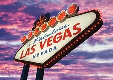 Welcome To Fabulous Las Vegas Nevada Sign, Sunset Clouds in Sin City -- Postcard