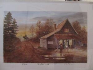 """John Kollock Art Watercolor Print - """"The Cross-road Store 1935""""  -- #696 / 1000"""