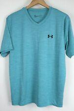 Men's UA Tech Velocity V-neck Loose Fit Anti Odor Light Blue T-Shirt sz Large