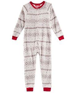 Family Pajamas Unisex Kids Boys or Girls Winter Fairisle One-Piece PJ, Gray