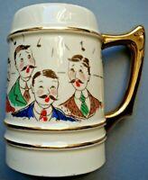 Vtg 1940 s Barbershop Quartet Ceramic Mug Stein Gold Trim Handle