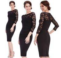 Goddess Black Scallop Lace Fitted Wiggle Marcella Cocktail Evening Party Dress