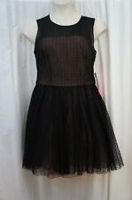 Betsey Johnson Dress Sz 12 Black Dotted Sleeveless Tulle Cocktail Party Dress