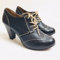 Fossil Black Leather Ankle Lace-Up Wingtip Brogue Oxford Heels 8 Retro Pinup  d