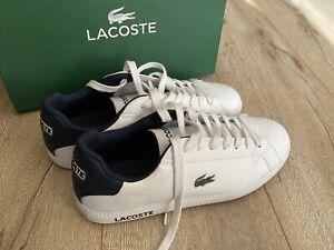 Mens LACOSTE Graduate LCR3 White Dark Blue Leather Sneakers US 8 #19571 EC
