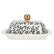 Ladelle Mystic Butter Dish Floral Black White Pink Gold Pretty Modern Breakfast