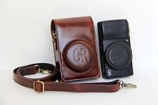 Lether Camera Case bag Cover Strap for Ricoh GR II or GR coffee / dark brown