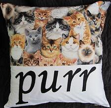CAT LOVER'S GIFT PURR HANDMADE APPLIQUÉ CUSHION COVER CUTE KITTENS