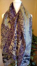 "Women's Long Scarf Wrap Large 66""x 27"" Purple & Gold"