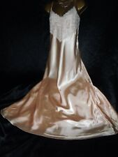 Stunning peach silky satin nightie slip gown 46 chest cd/tv