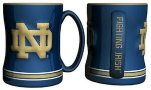 Notre Dame Fighting Irish 15oz Sculpted Relief Coffee Mug [NEW] NCAA Tea Cup Hot