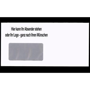 Briefumschläge mit Ihrem Logo selbstklebend mit und ohne Fenster DIN Lang s/w