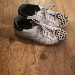 OVYE BY CRISTINA LUCCHI SNEAKERS SHOES TRAINERS SIZE 38 / UK 5 FAUX FUR & WHITE