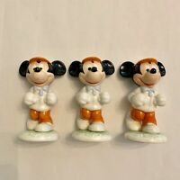 Vintage Walt Disney Mickey Mouse Jogging Goebel Figurine (set Of 3) Germany