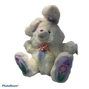 """Dan Dee Hoppy Hopster White 22"""" Easter Bunny Rabbit Plush Tag & Poem Flowers"""