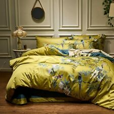 Yellow Silky Egyptian cotton Bedding Set Chinoiserie style Birds Plant Duvet