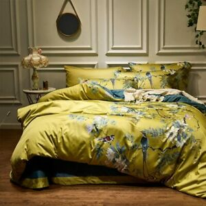 Yellow Silky Egyptian cotton Bedding Set Chinoiserie style Birds Plant Duvet