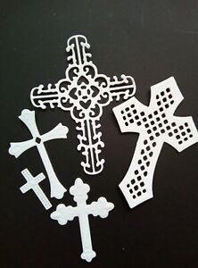5 pce small cross die set ornate lace metal cutting die UK size in description