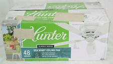 "Hunter Sea Wind 48"" Indoor Ceiling Fan w light pull chain control White 53119"