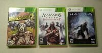 Lot of 3 Xbox 360 Games - Halo 4, Borderlands 2, Assassin's Creed Brotherhood