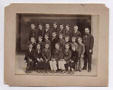 PHOTO ANCIENNE Groupe de garçons École Maître Vers  1900 Uniforme Écoliers