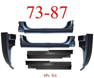 73 87 Cab Kit 6Pc Chevy Extended Rockers Large Inner & Giant Cab Corners