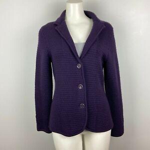 TALBOTS Women's Sweater Cardigan Merino Wool Dark Purple Knit Size Medium Petite