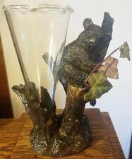 """Heavy 8"""" Vintage Cast Bronze Koala Bear In Tree Trunk Vase Statue Sculpture"""