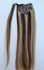18inches Highlighted 100% Human Hair,Wrap Around Ponytail Hair Extensions #4/613