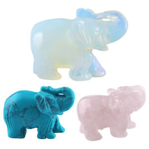 1PC Elephant Figurine Statue Natural Healing Crystal Carved Home Office Decor