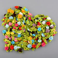 100pcs New Small Satin Ribbon Flowers Rose Wedding Decor Sewing Appliques Craft