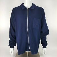 Resort Two Joey Rodolfo Mens Large Navy Blue Full Zip Sweater Chest Pocket EUC