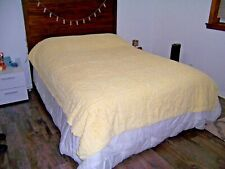 Vintage Chenille Bedspread Quilted Throw Coverlet Yellow 87x70 Xcllnt