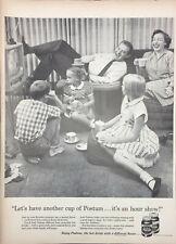 Vintage Instant Postum 1957 Print Ad Family Enjoying Drinks While Watching TV