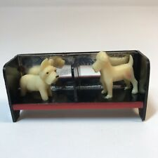 Vtg Celluloid Miniature Scotty Dog Terrier on Bench Mirror Dollhouse Japan