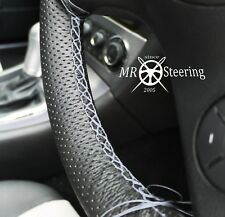 FOR 91+ VW TRANSPORTER T4 PERFORATED LEATHER STEERING WHEEL COVER GREY DOUBLE ST