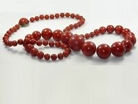 """ANTIQUE 33"""" ART DECO CHERRY RED BAKELITE GRADUATED BEAD NECKLACE 106.4 g TESTED"""