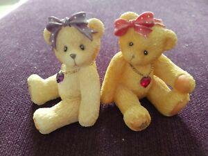 Cherished Teddies x 2 - little sparkles with genuine Austrian crystals Feb & Jul