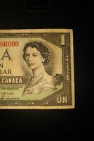 1954 Devil's Face $1 Dollar Bank of Canada Banknote OA1386600