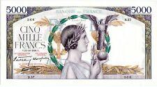 RARE++++ FRANCE  5000 FRANCS VICTOIRE TAILLE DOUCE 13/10/1938  AUNC  SPL+
