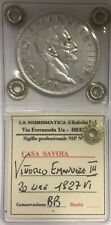 *TRIU* VITTORIO EMANUELE III  20 LIRE LITTORE 1927 VI BB ARGENTO PERIZIATA